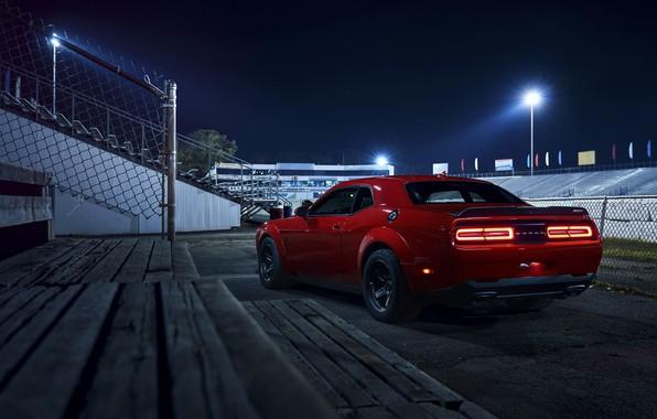Picture Challenger, red, sportcar, Night, 2018, musclecar, SRT, Demon