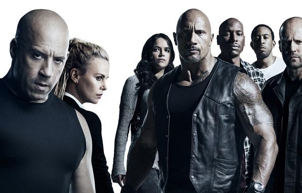 Picture Charlize Theron, cinema, movie, Vin Diesel, Jason Statham, Dwayne Johnson, Michelle Rodriguez, film, The Fast …