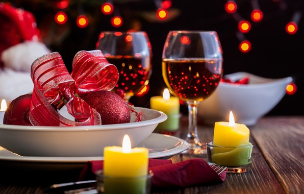 Picture wine, candles, glasses, Valentine's day, hearts, Valentines day