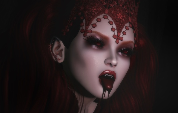 Picture girl, face, blood, vampire