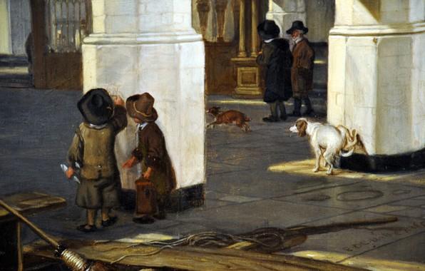 Picture dogs, children, Emanuel de Witte, Interior of the Oude, 1650-52, Kerk in Delft