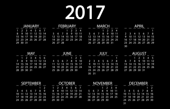 Picture background, black, graphics, new year, vector, figures, black background, calendar, year, date, months, 2017, new …