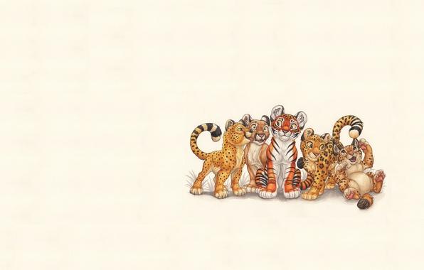 Picture cats, animals, minimalism, art, kittens, spots
