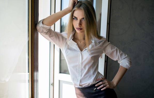 Picture girl, Model, long hair, photo, blue eyes, lips, face, blonde, shirt, skirt, portrait, mouth, make …