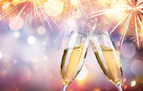 Picture champagne, night, colorful, fireworks, 2017, champagne, new year, salute, holiday celebration, happy, fireworks, glasses, New ...