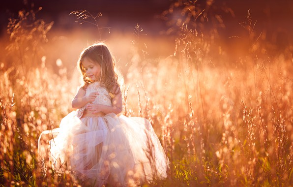 Picture grass, mood, dress, meadow, girl
