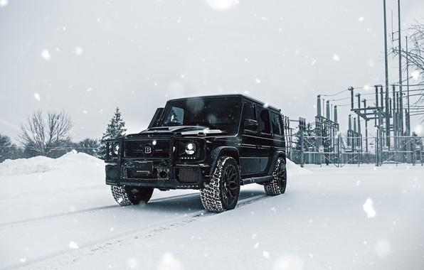 Picture Mercedes, Winter, AMG, Black, Snow, G63, W463