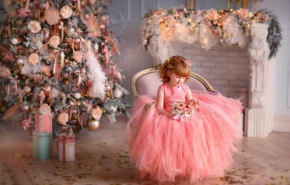 Picture flowers, dress, girl, gifts, New year, tree, fireplace, a bunch