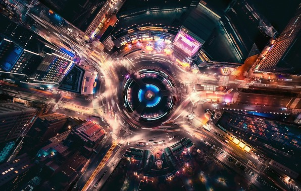 Picture night, the city, lights, movement, street, excerpt, USA, New York, street