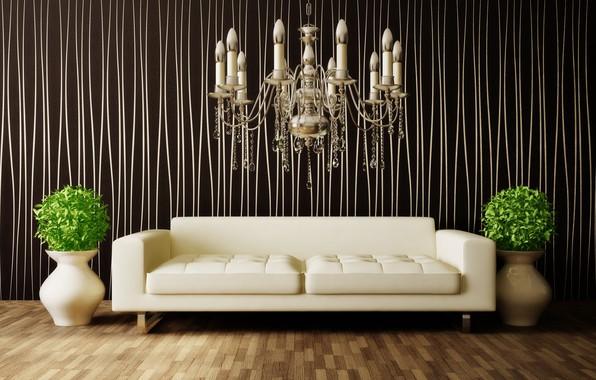 Picture flowers, sofa, interior, chandelier, vases, room, interior, modern