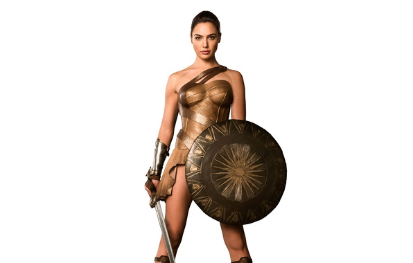 Picture sword, fantasy, white background, beauty, shield, Wonder Woman, Amazon, Gal Gadot, Gal Gadot, Wonder woman