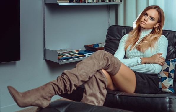 Picture girl, room, skirt, chair, boots, makeup, brown hair, shelves, turtleneck, Nicole Anna Szar, Paolo Carlo …