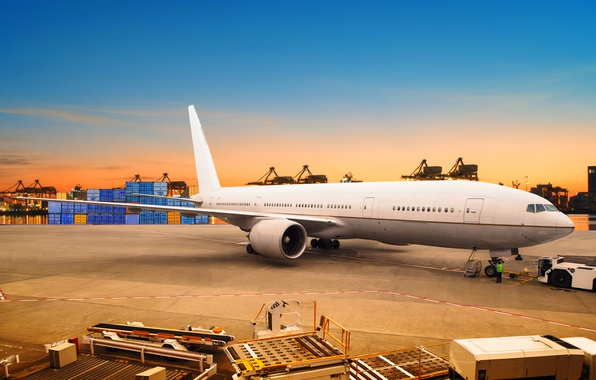 Picture the sky, asphalt, sunset, lights, the plane, river, the evening, port, passenger, container