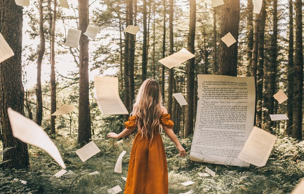 Picture forest, girl, book, page, Bird Man
