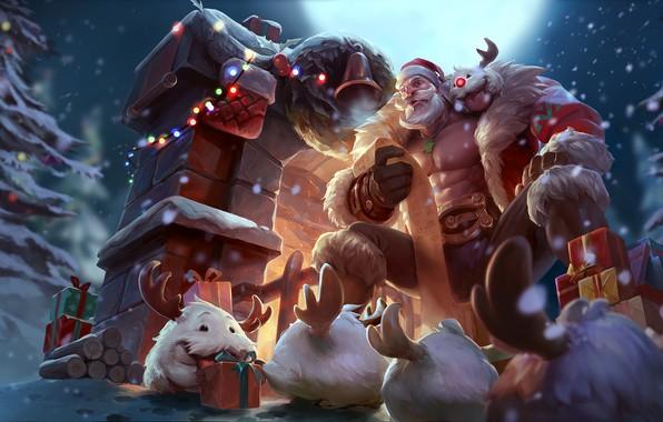 Picture Santa, lol, League of Legends, santa, braum, braum