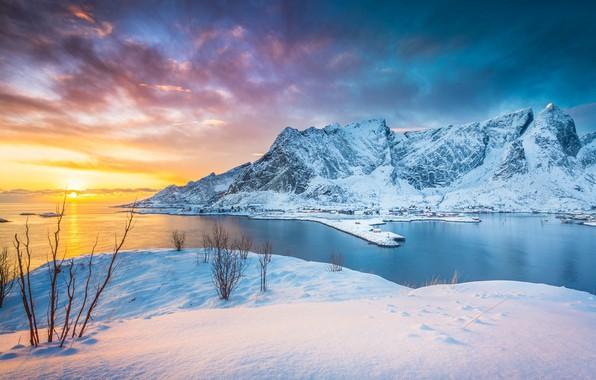 Picture winter, sunset, mountains, lake, Norway, Norway, Lofoten Islands, Stefano Termanini