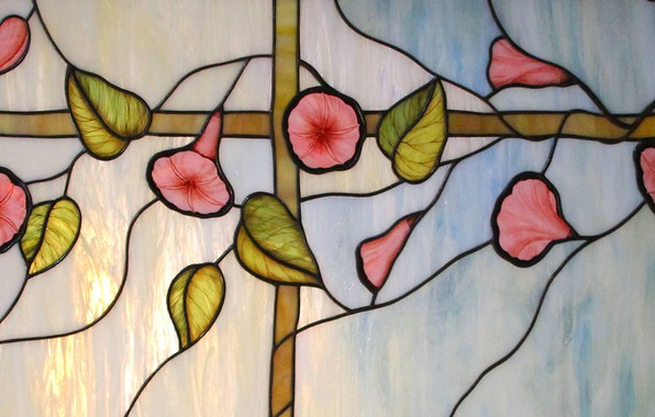 Picture glare, background, texture, stained glass, yunki, floral ornament, stained glass film