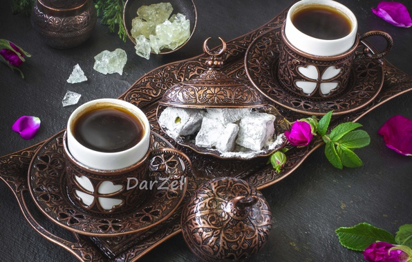 Picture coffee, briar, dishes, bronze, Turkish delight
