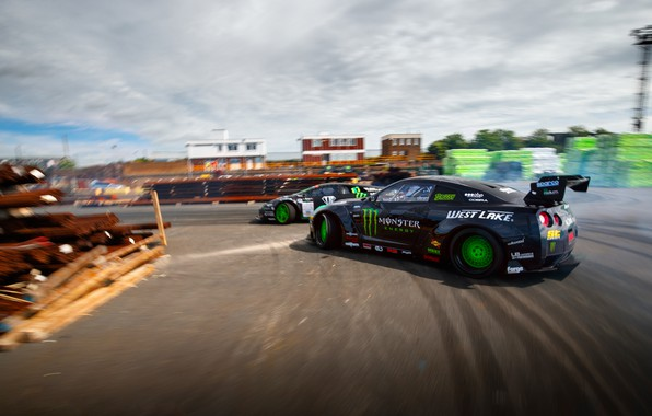 Picture Lamborghini, skid, Nissan, Drift, Monster Energy, Speedhunters, Larry Chen, Battle drift