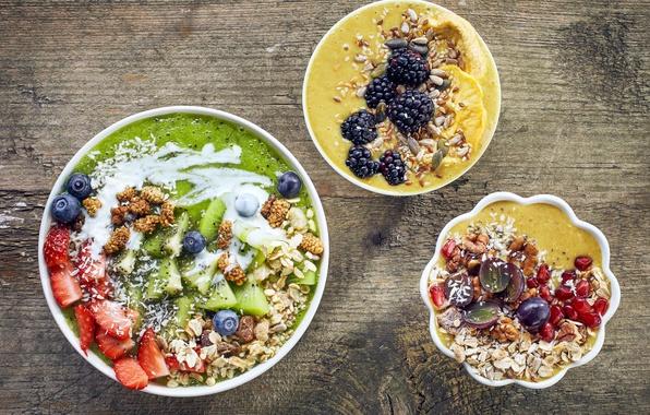 Photo wallpaper berries, Breakfast, fruit, nuts, muesli, cereal