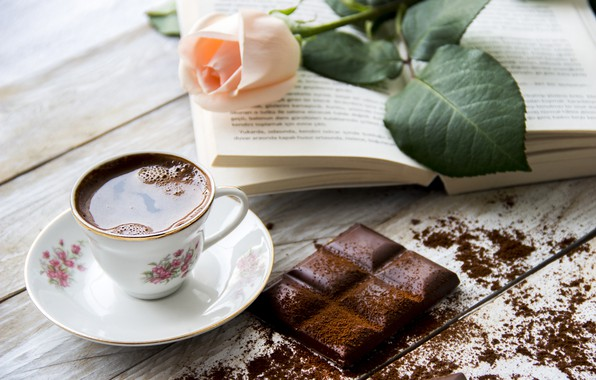 Picture flower, table, rose, coffee, chocolate, Cup, book, drink, saucer, bokeh