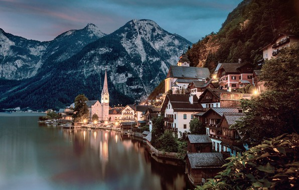 Picture forest, trees, sunset, mountains, lights, lake, rocks, home, the evening, Austria, lights, Hallstatt, Hallstatt