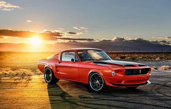 Photo wallpaper the sun, sunset, Mustang, Ford, Mustang, Ford, 1968