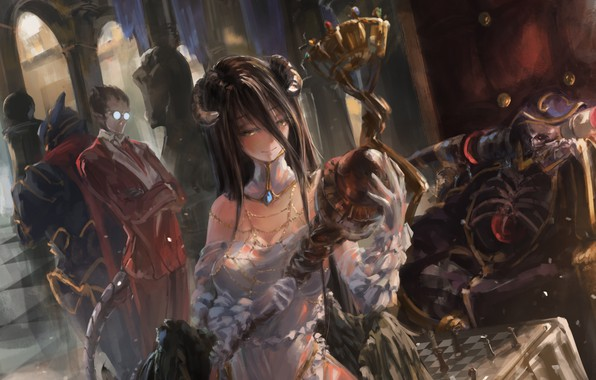 Picture girl, smile, wings, anime, art, glasses, horns, male, albedo, overlord, song ren, ainz ooal gown, …