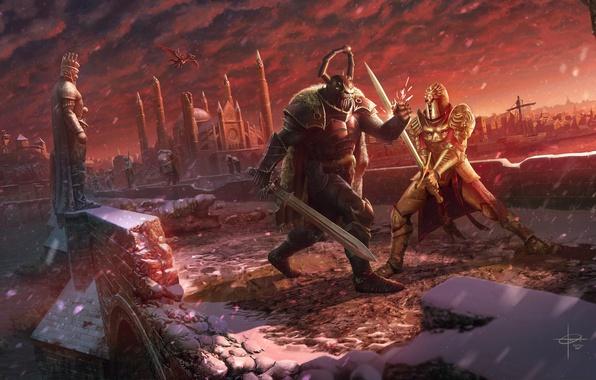 Picture winter, snow, bridge, the city, river, darkness, dragon, sword, battle, warrior, helmet, duel, knight, fight, …