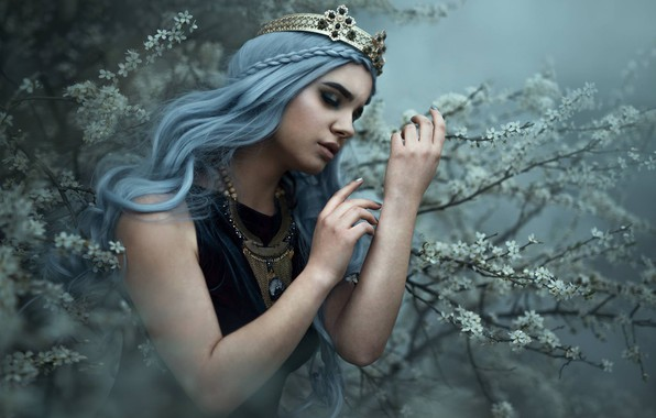Picture girl, branches, pose, mood, crown, hands, flowering, blue hair