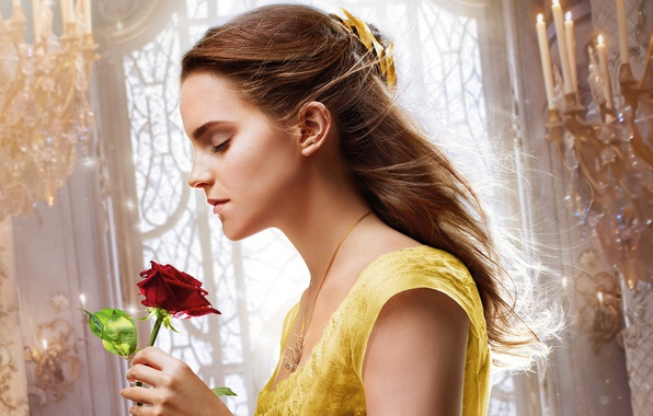 Picture cinema, girl, love, rose, Disney, Emma Watson, flower, monster, dress, movie, blonde, film, Beauty and …