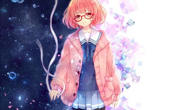 Picture girl, anime, petals, tears, art, tape, kyoukai no kanata, mirai kuriyama, yamada konayuki