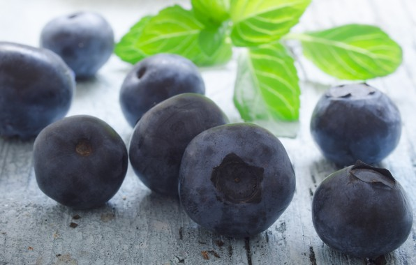 Picture blueberries, berry, mint
