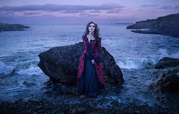 Picture girl, pose, stones, mood, the ocean, rocks, dress