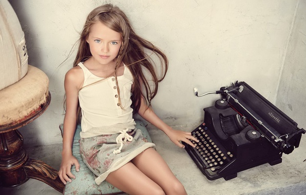 Picture look, girl, typewriter, Kristina Pimenova, kristina pimenova