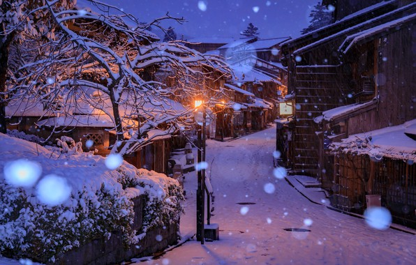 Picture winter, snow, snowflakes, lights, street, home, the evening, Japan, lights, Kyoto