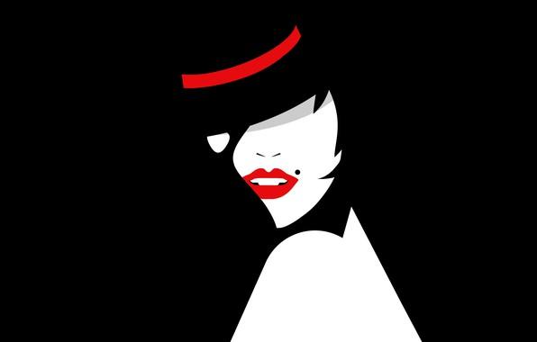 Picture girl, vector, hat, lipstick, silhouette, lips, cabaret