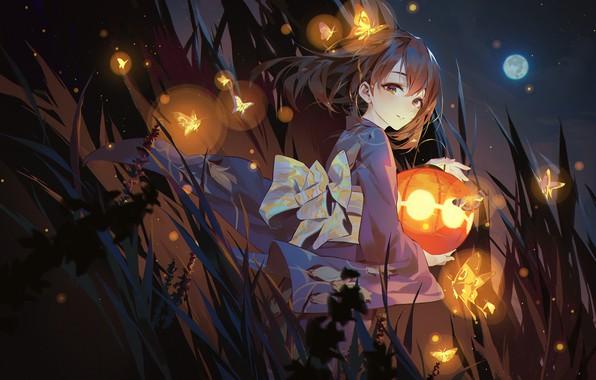 Picture girl, anime, art, lantern, IdolM@ster