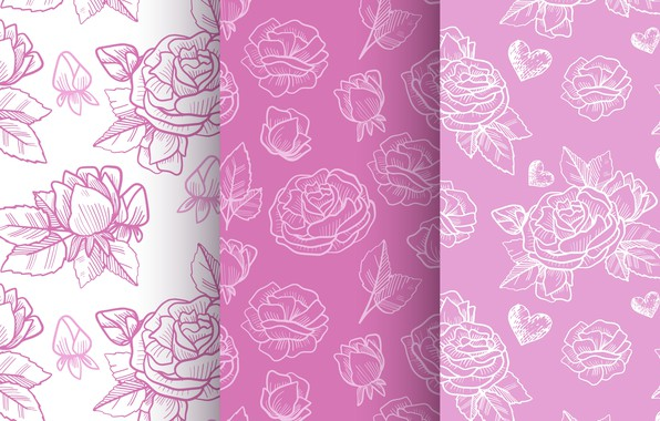 Picture rose, patterns, purple, decorative