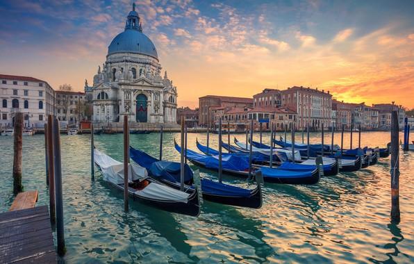 Picture boats, Italy, Venice, Cathedral, gondola, Santa Maria della Salute, The Grand Canal