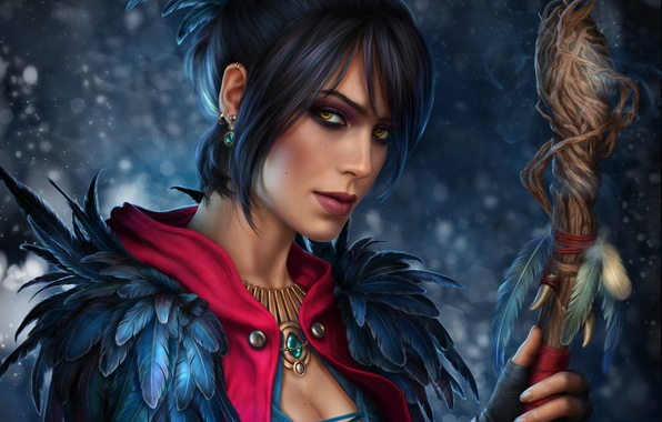 Picture look, girl, staff, Dragon Age, Morrigan
