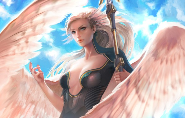 Picture girl, fantasy, magic, cleavage, breast, wings, blue eyes, feathers, Angel, blonde, artwork, fantasy art, chest, …