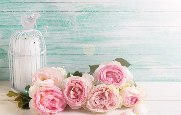 Picture flowers, roses, bouquet, pink, vintage, wood, pink, flowers, roses, candle
