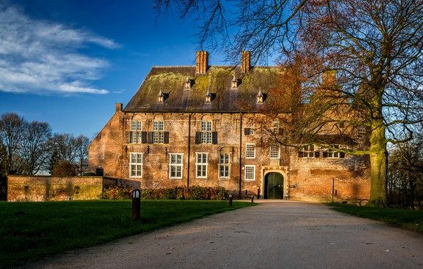 Picture autumn, the sky, grass, the sun, clouds, trees, castle, lawn, garden, track, Netherlands, the bushes, …