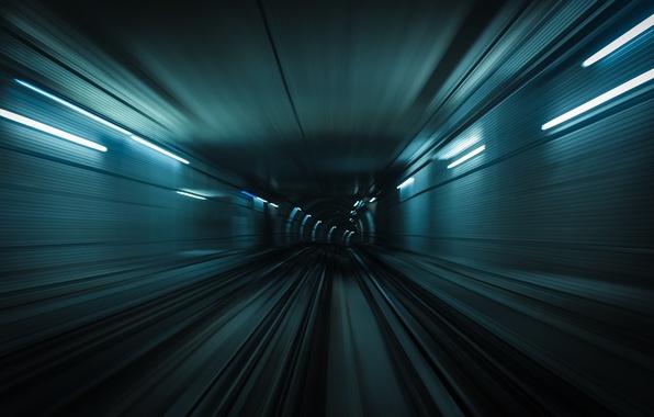 Picture movement, metro, rails, train, speed, blur, the tunnel, underground, subway
