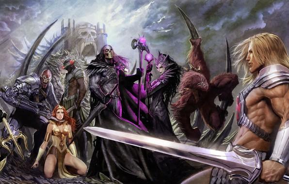 Picture sword, fantasy, magic, weapon, monsters, castle, artist, digital art, artwork, shield, warrior, fantasy art, Evelynn, …