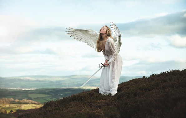 Picture chest, the sky, girl, clouds, mountains, pose, weapons, fantasy, mood, height, wings, the situation, angel, …