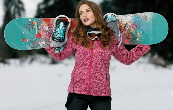 Photo wallpaper winter, girl, face, style, Snowboard