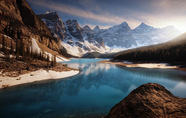 Picture forest, light, mountains, lake, rocks, Canada