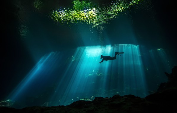 Picture sea, water, light, the ocean, the darkness, people, diver, under water, diving, diver